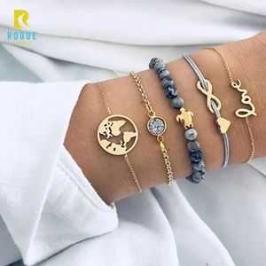 Jewelry - 🆕Real Marbled Stone 5 Bracelet Set Turtle Gold